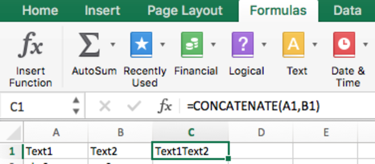 Concatenate 'Text1' and 'Text2' to form 'Text1Text2'