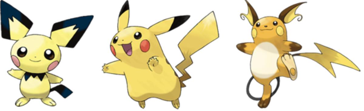 Pichu, Pikachu, and Raichu