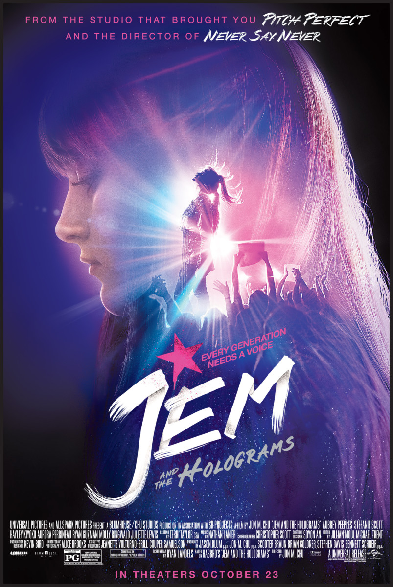 Poster for Jem and The Holograms movie. Property, BH Productions, Universal and Hasbro.
