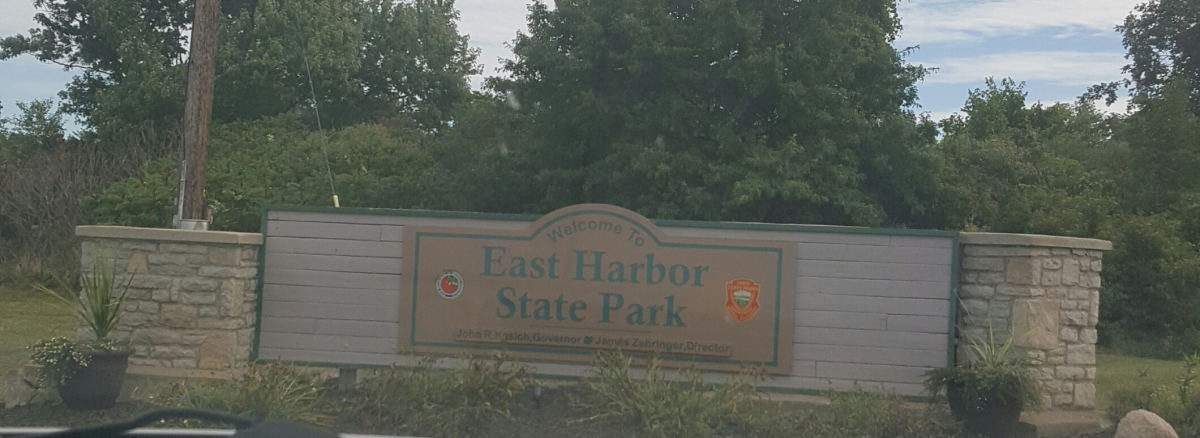 Welcome to East Harbor State Park - Entrance sign.