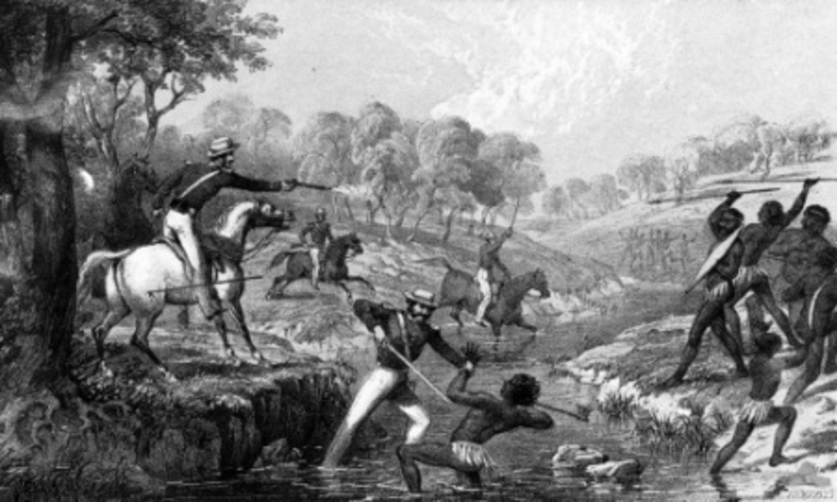 This is a depiction of The Waterloo Creek Massacre or Slaughterhouse Creek Massacre that took place six months before Myall Creek.