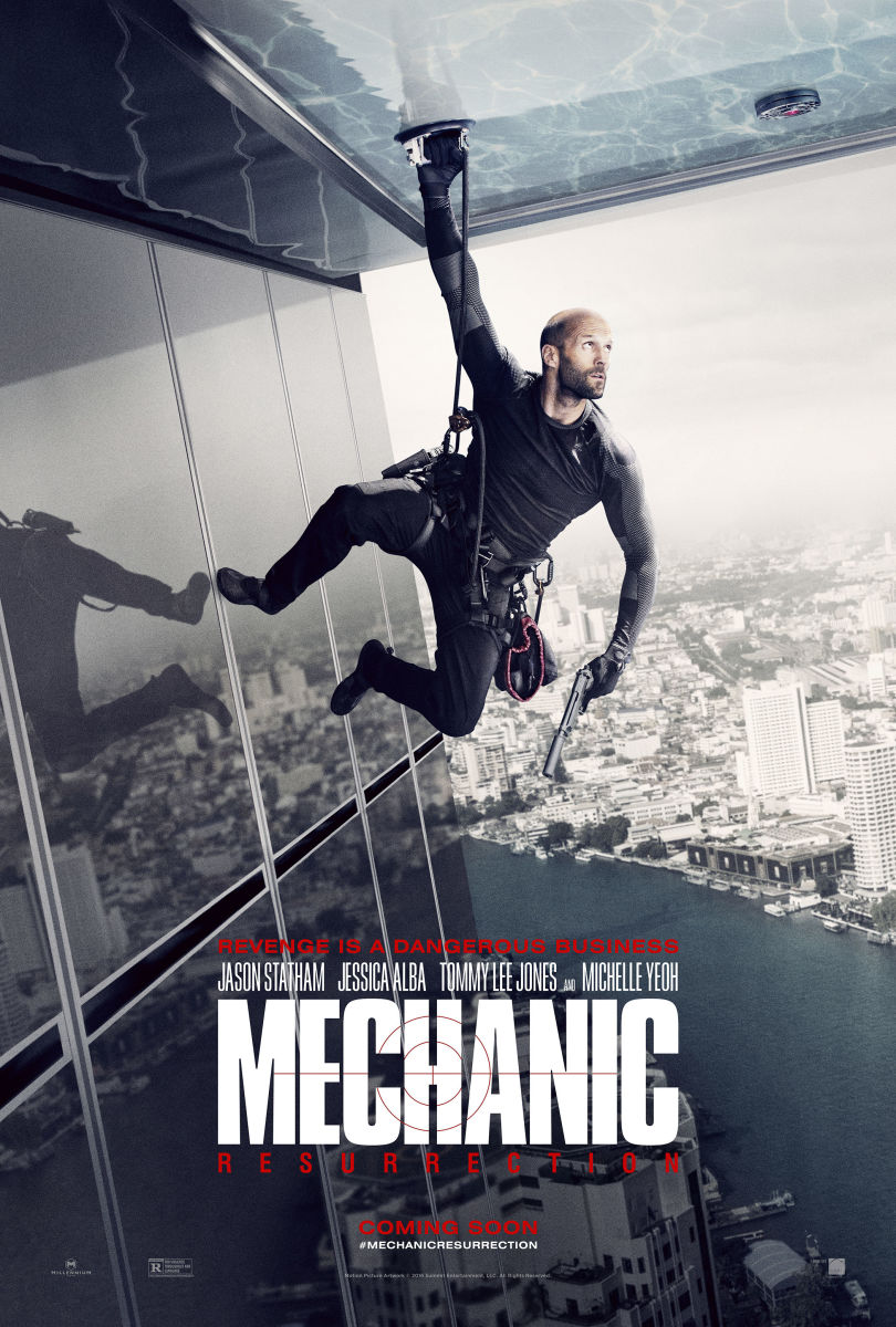 "The official theatrical one-sheet poster for ""Mechanic: Resurrection."""