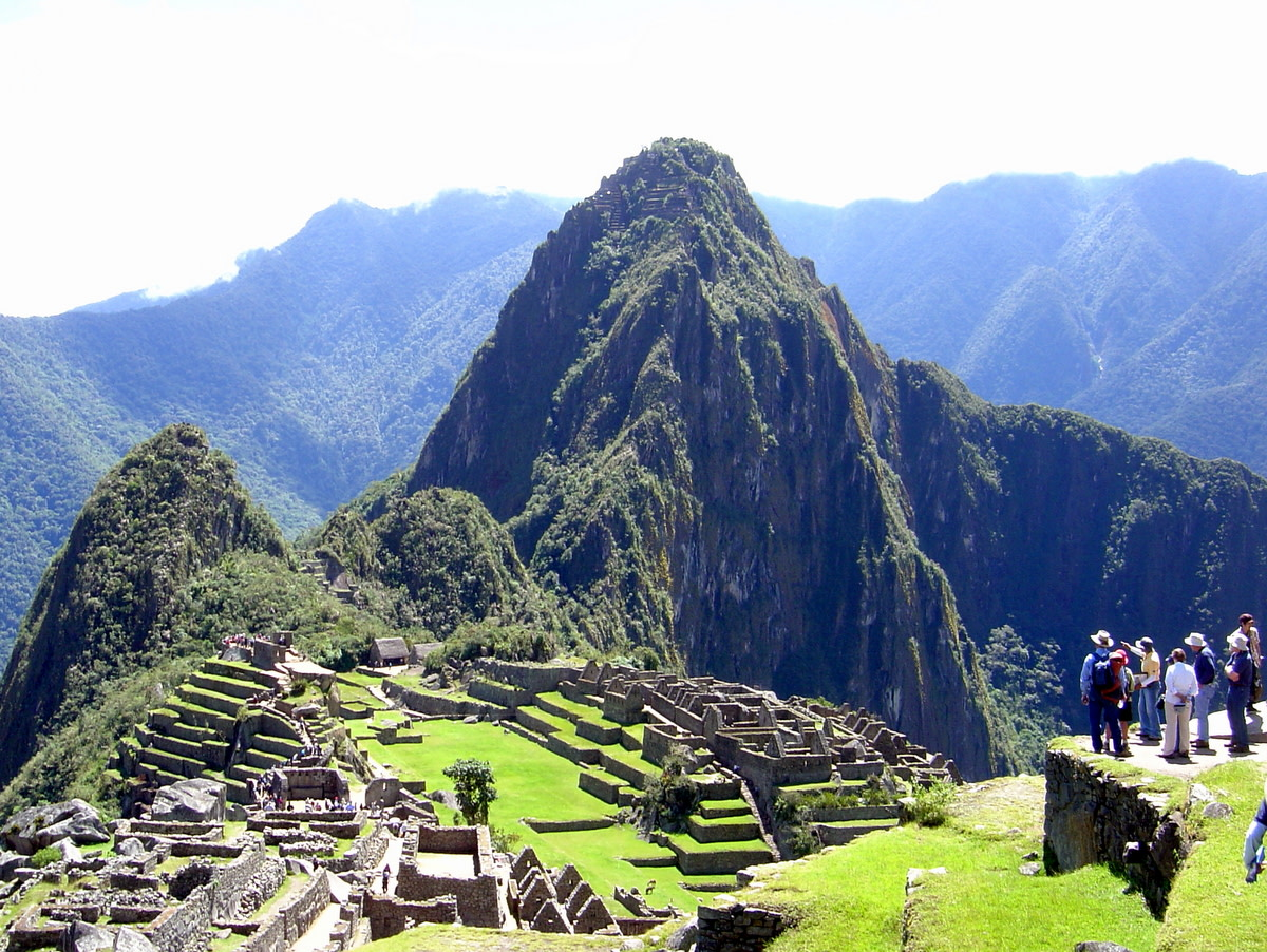 This fabulous view of Machu Picchu, the ruined, ancient city of the Incas, greets visitors as they come through the gate.