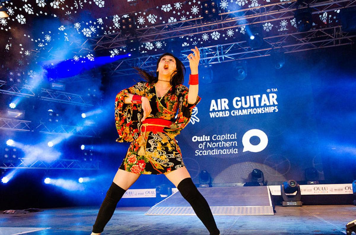 Nanami Nagura, World Air Guitar Champion 2014 in Oulu, Finland.