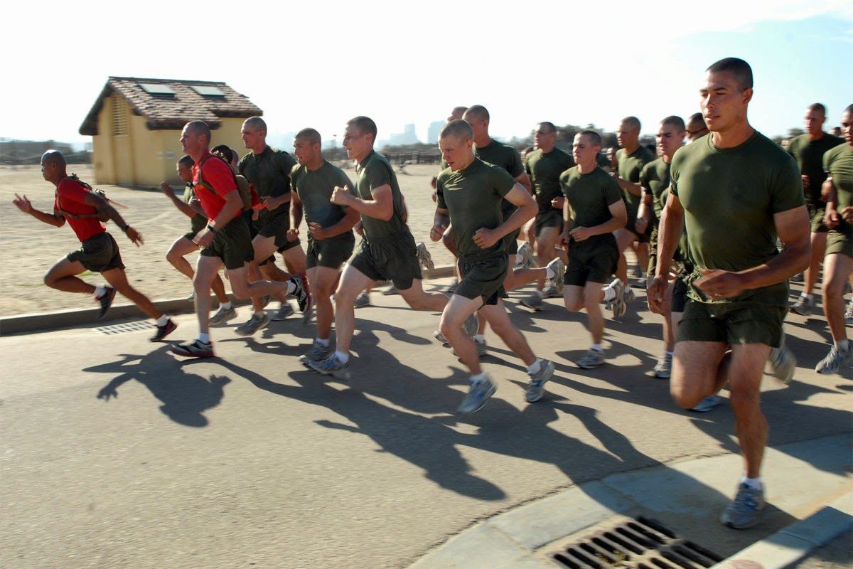 "Circuit training workouts are often designed as ""do anywhere"" strength and conditioning sessions. This form of cross-training is utilized heavily by the armed forces, such as Marines in the photograph."