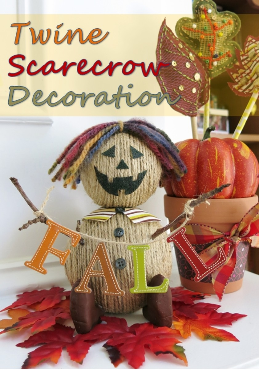 DIY Craft Tutorial:  Twine Scarecrow Decoration for Fall