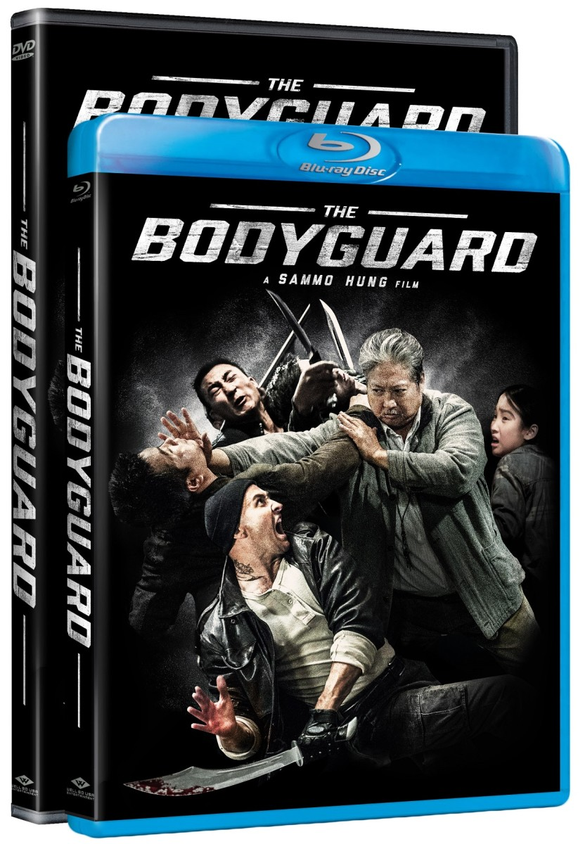 "The official DVD/Blu-ray cover artwork for Sammo Hung's ""The Bodyguard."""