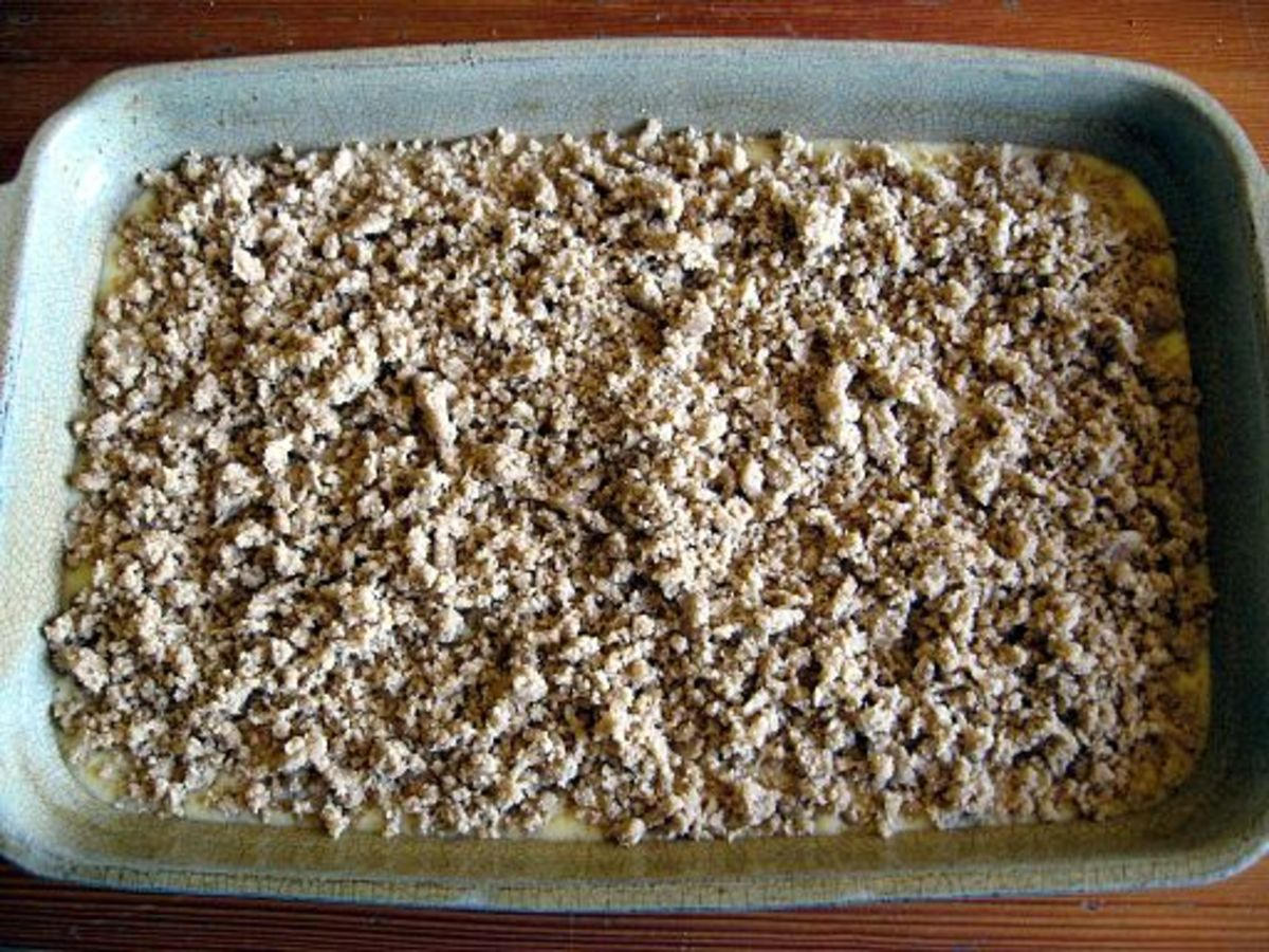 This crumble is ready to pop into the oven