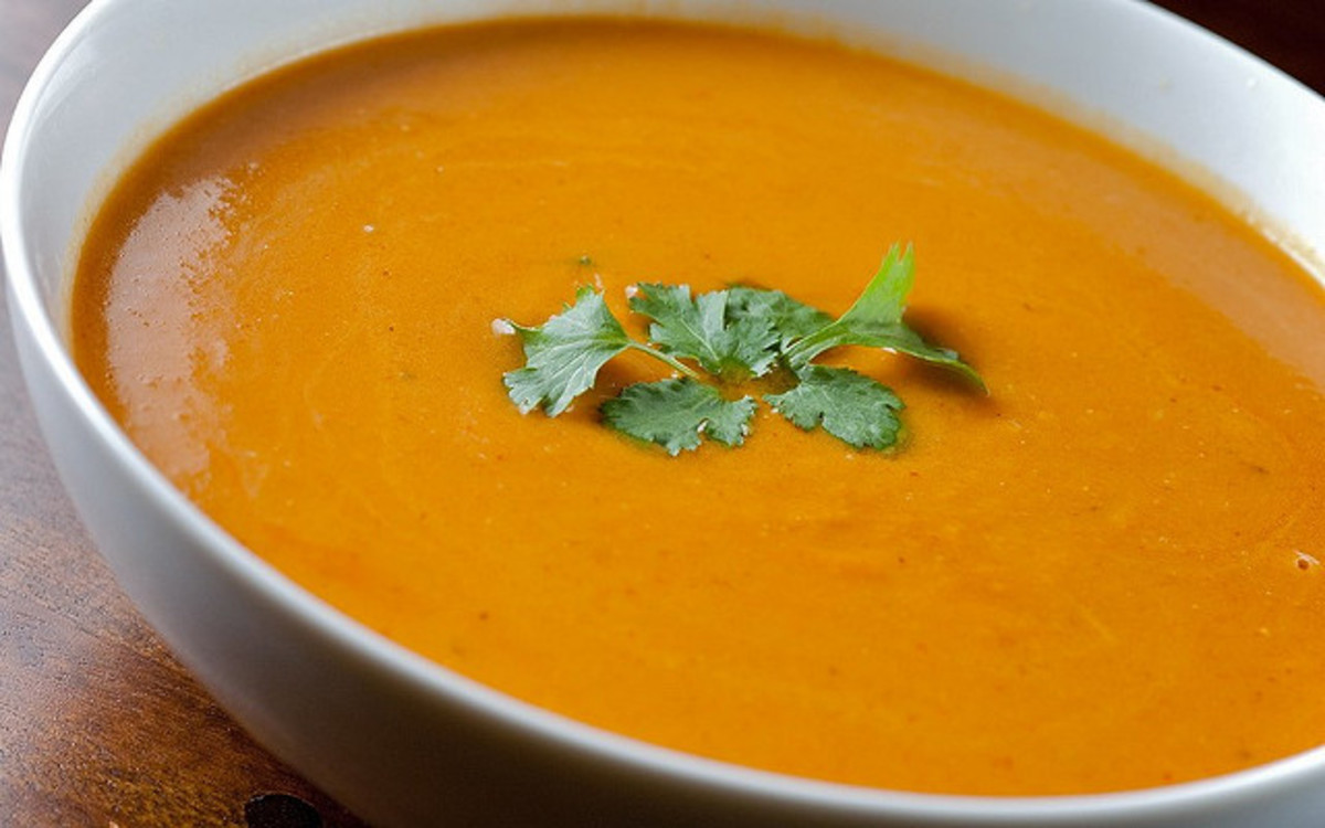 Butternut squash soup is both tasty and nutritious.