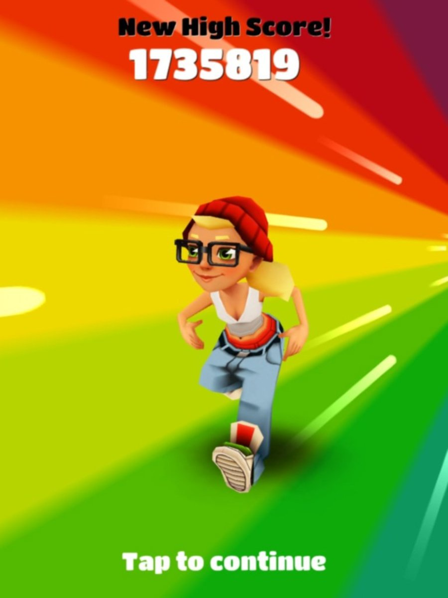 "Get a high score in ""Subway Surfers""!"