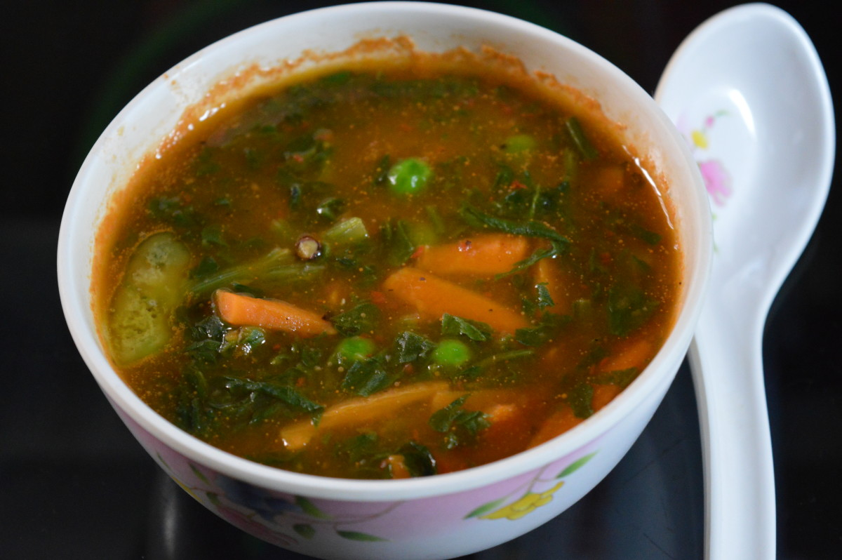 Soups: Spicy, Colorful Spinach Soup for those Cold Winter Evenings