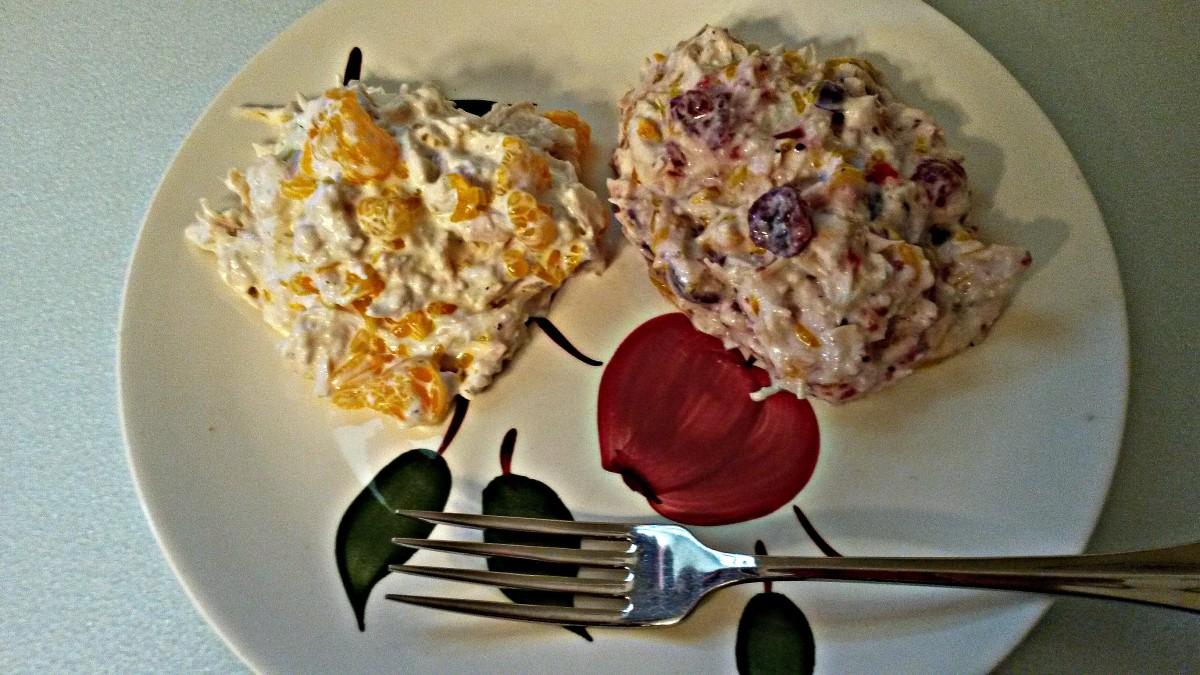 Orange chicken version on left. Orange cranberry chicken version on right.