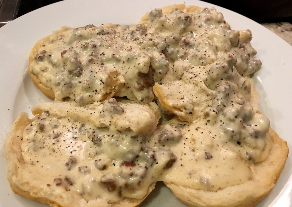 Homemade Pork Gravy and Biscuits