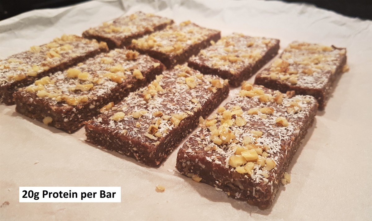 Easy No-Bake Protein Bar Recipe Made With Chocolate, Coconut, & Walnut