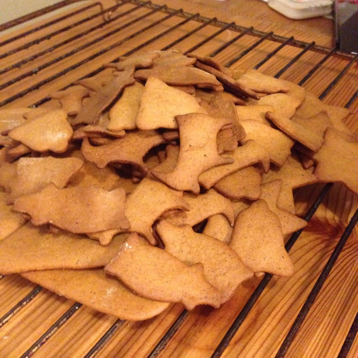 A batch of freshly baked gingerbread cookies.