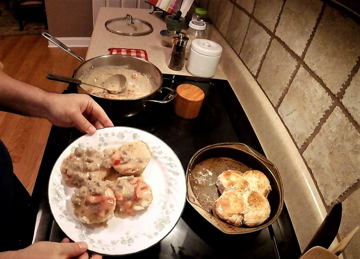 Traditional biscuits and gravy.