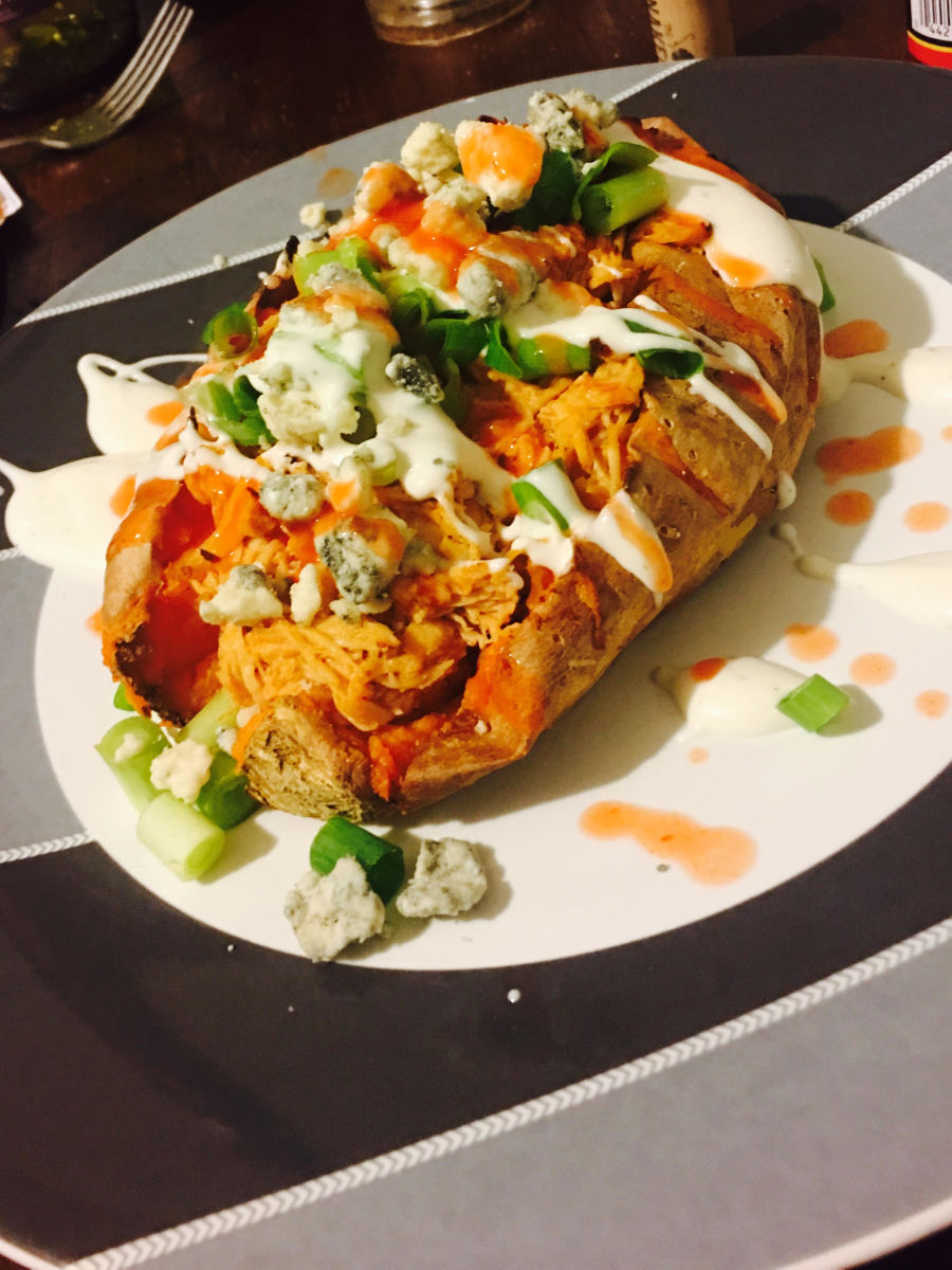 Buffalo Chicken Stuffed Sweet Potato