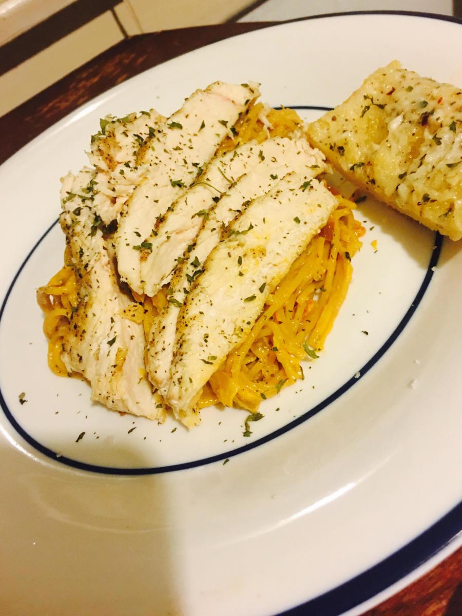 Angel Hair Pasta and Chicken in Sun-Dried Tomato Cream Sauce