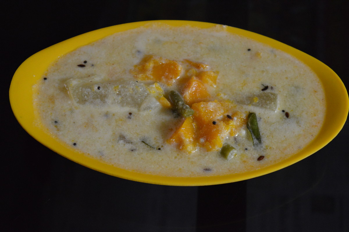 Vegetable stew simmered in coconut and yogurt.