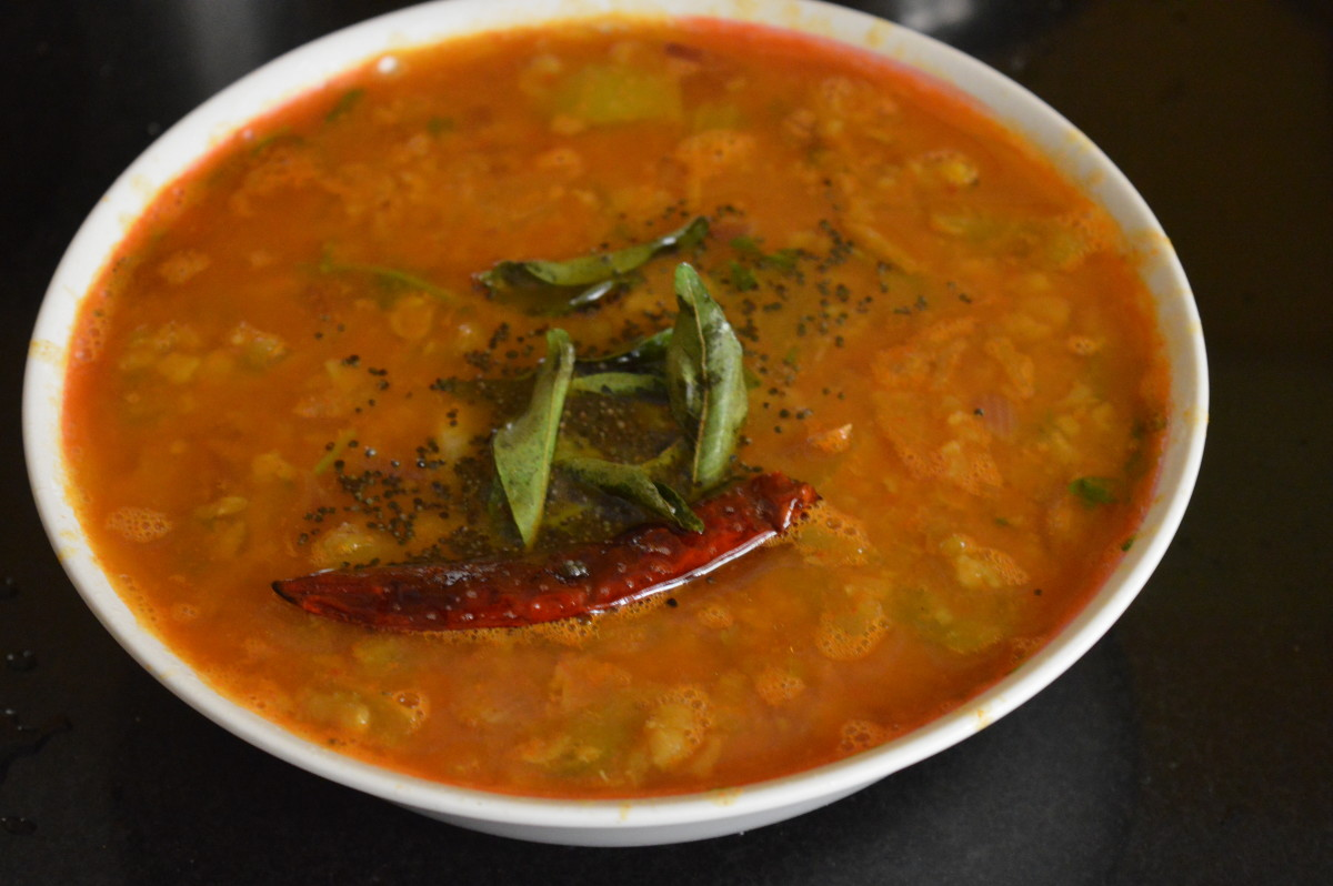 Raw tomato and onion sambar.