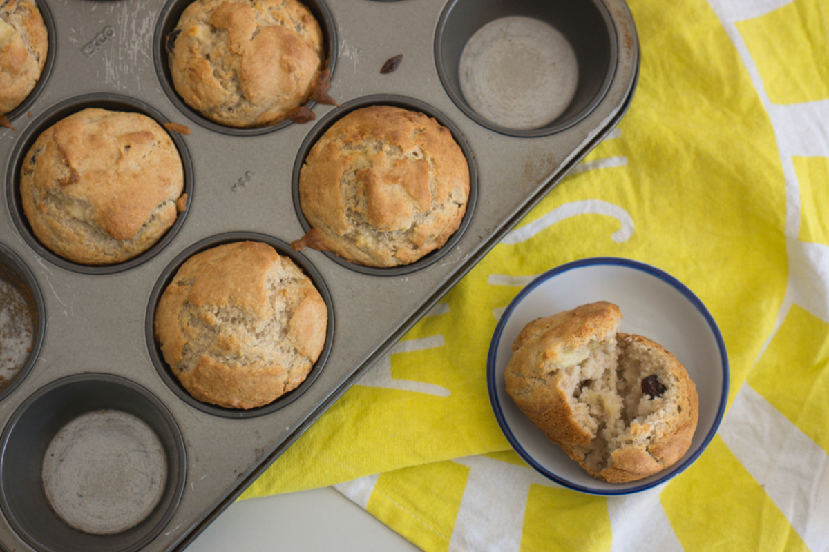 Fluffy vegan buckwheat and banana muffins with cranberries.