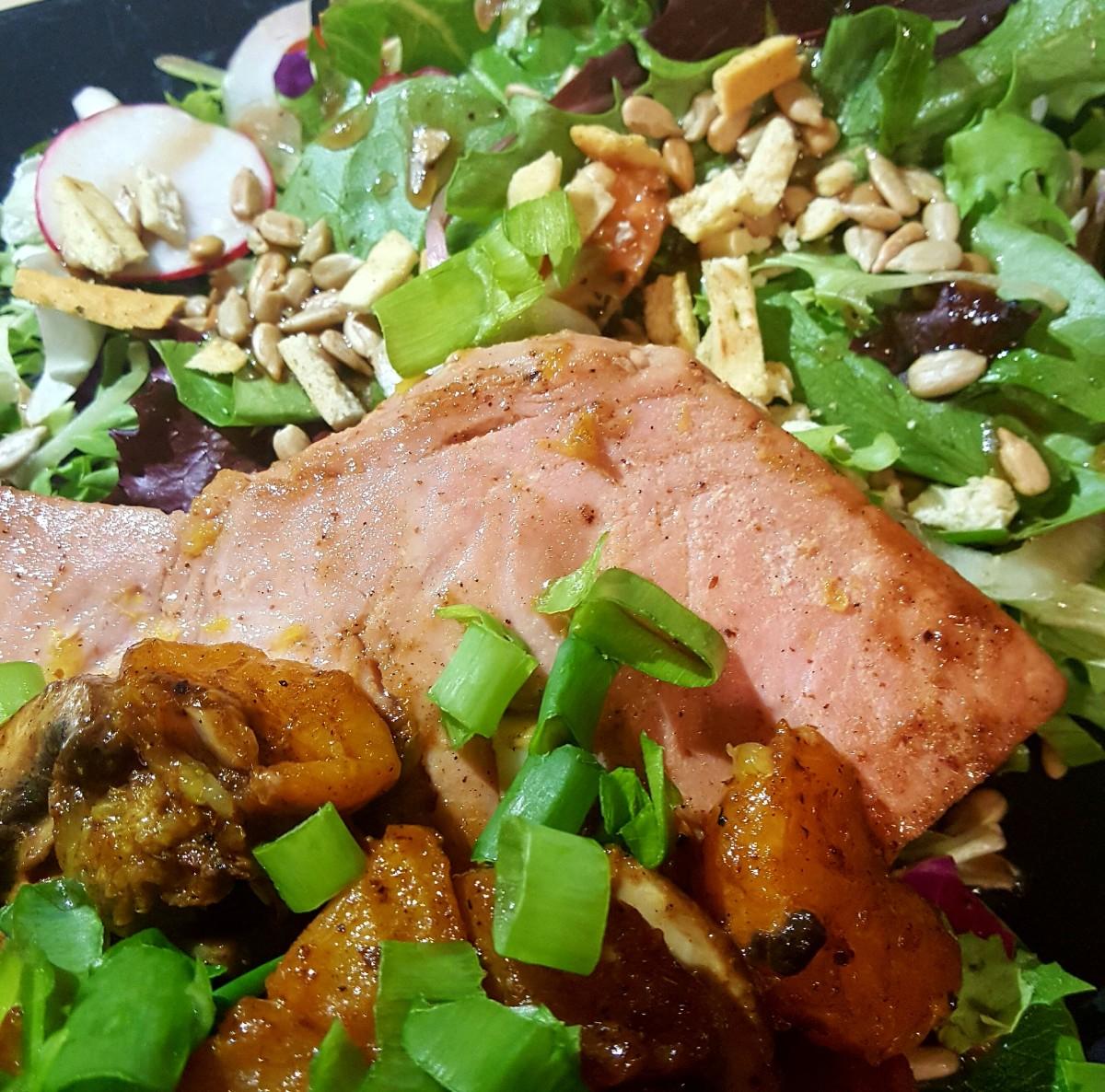 Orange-Seared Yellowfin Tuna With Sesame Glaze & Greens