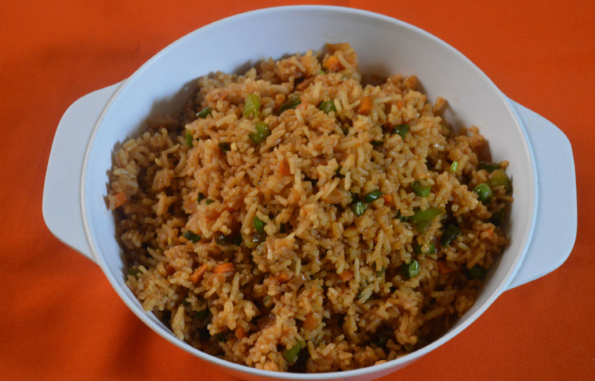 A big bowl of Szechuan fried rice.