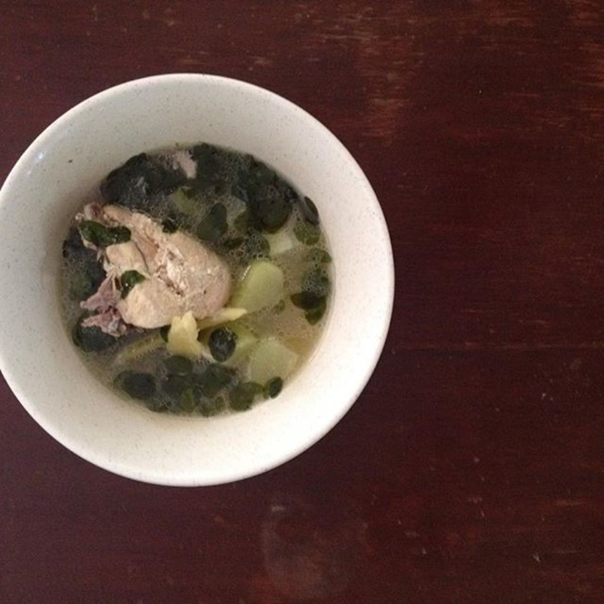 Chicken soup with Chayote and Moringga leaves