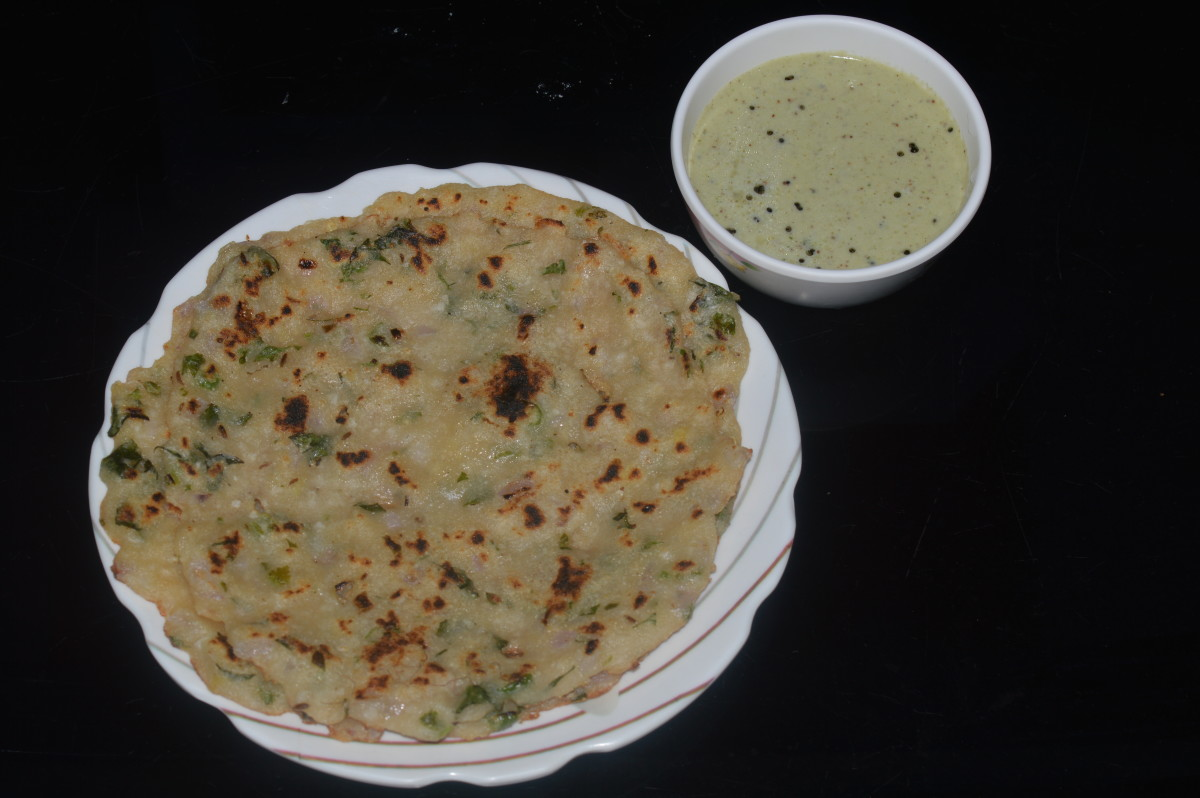 Semolina, Wheat-Flour, and Onion Roti (Sajjige Rotti)