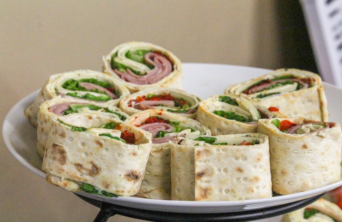 A platter of wraps.