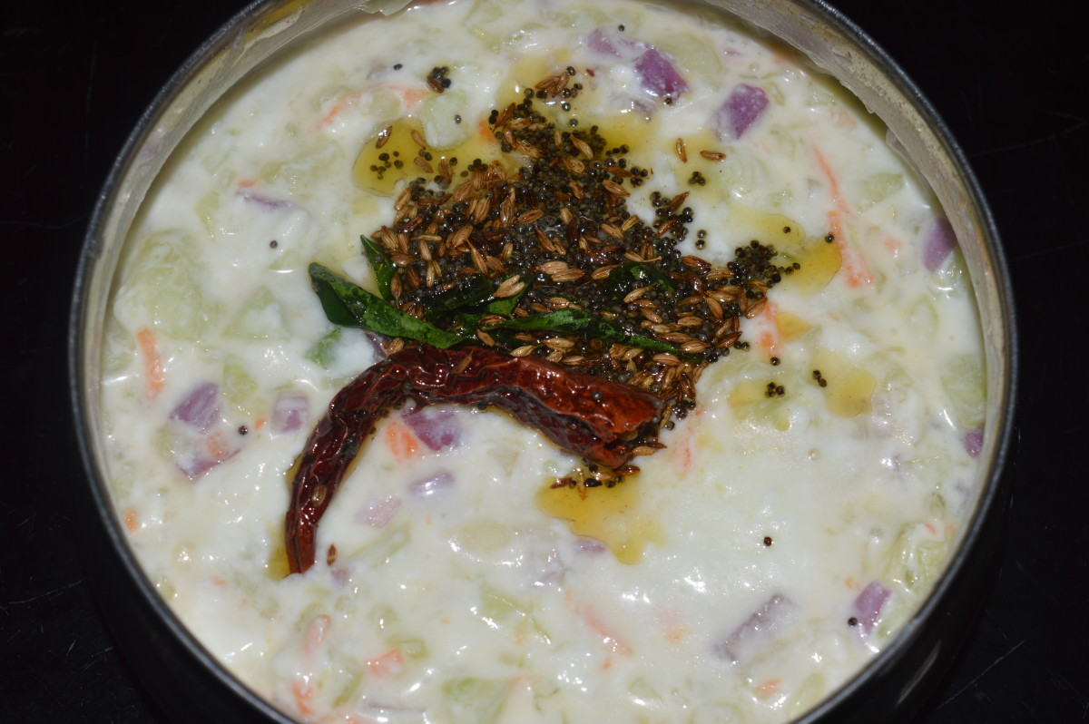 Cucumber, carrot, and onion raita or salad
