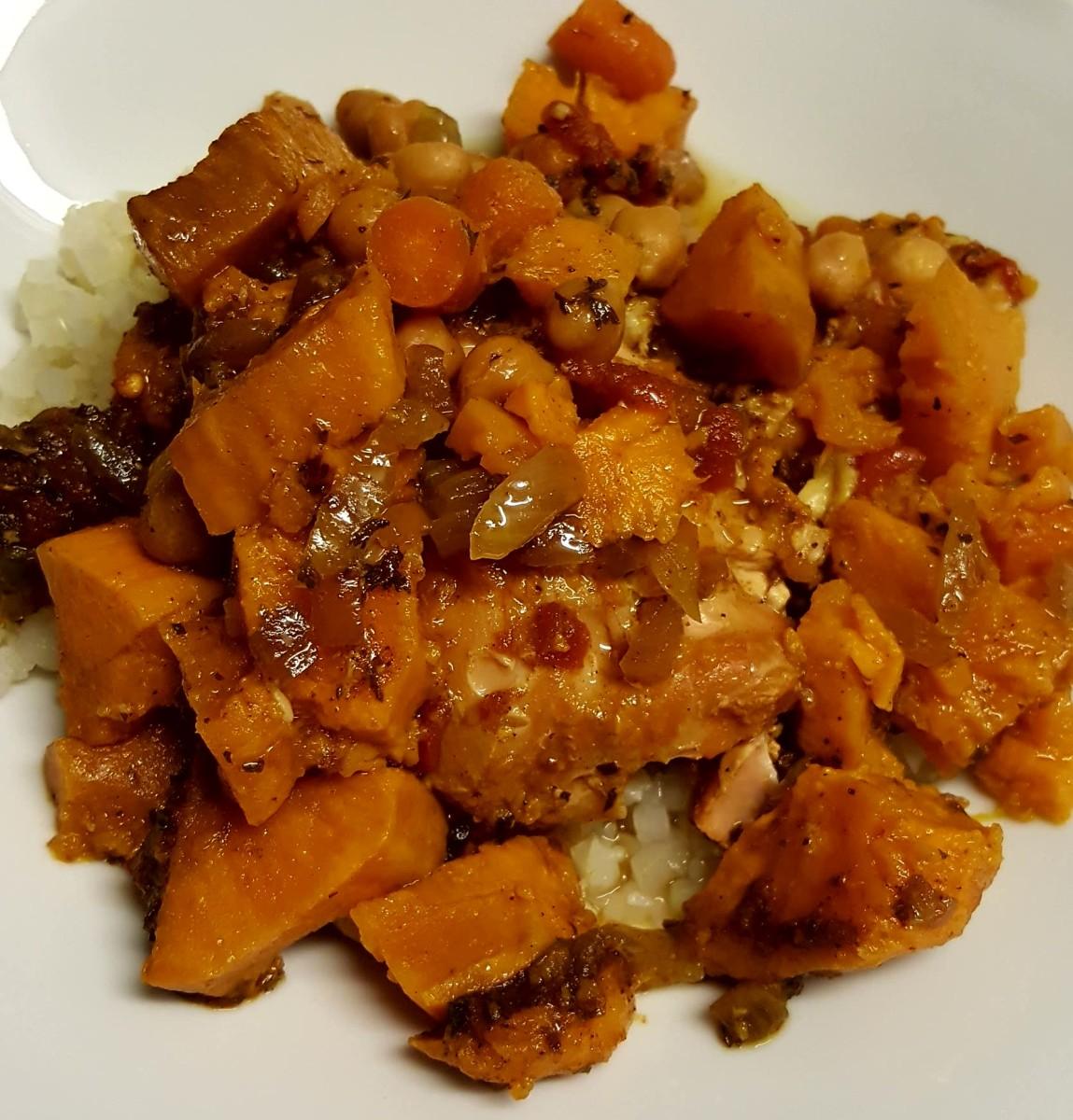 Chicken Marrakesh served over riced  cauliflower
