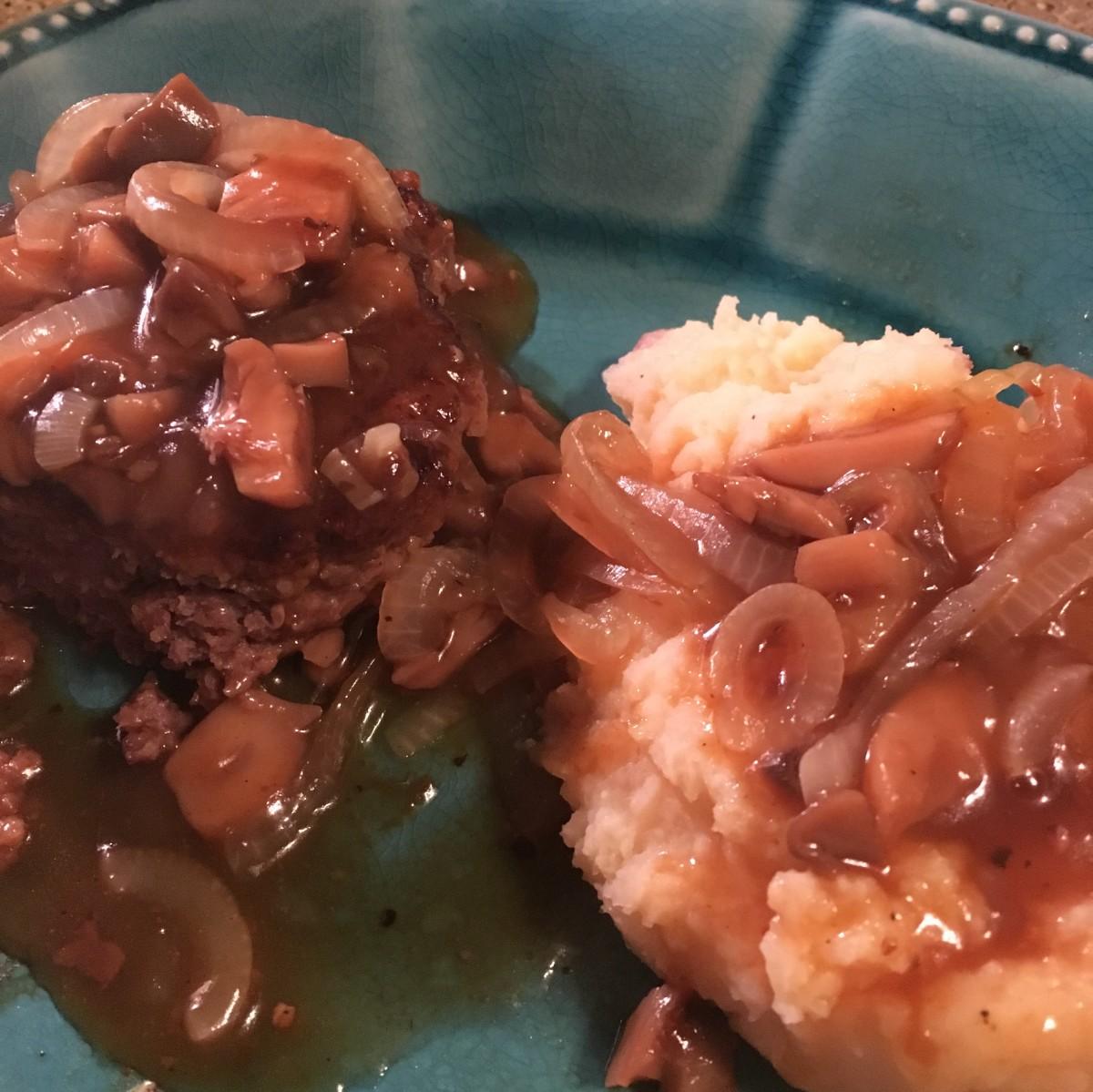 Venison Salisbury Steaks With Onion and Mushroom Gravy