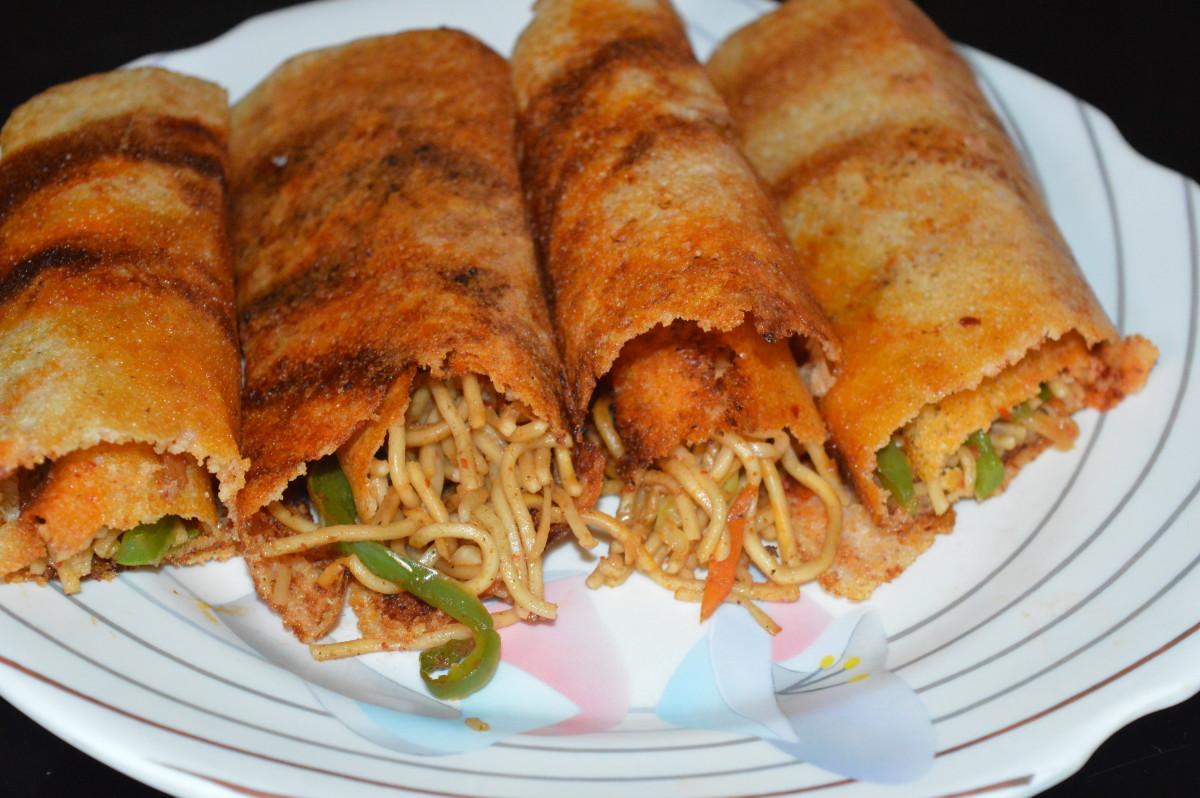 Healthy Snacks: Schezwan or Spring Dosa Recipe