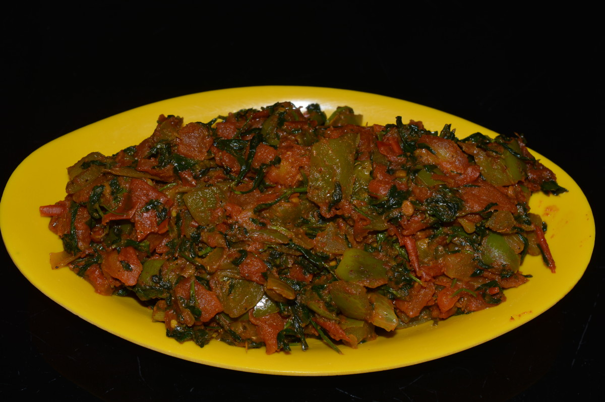 Fenugreek leaf mixed vegetable curry (methi dry curry).