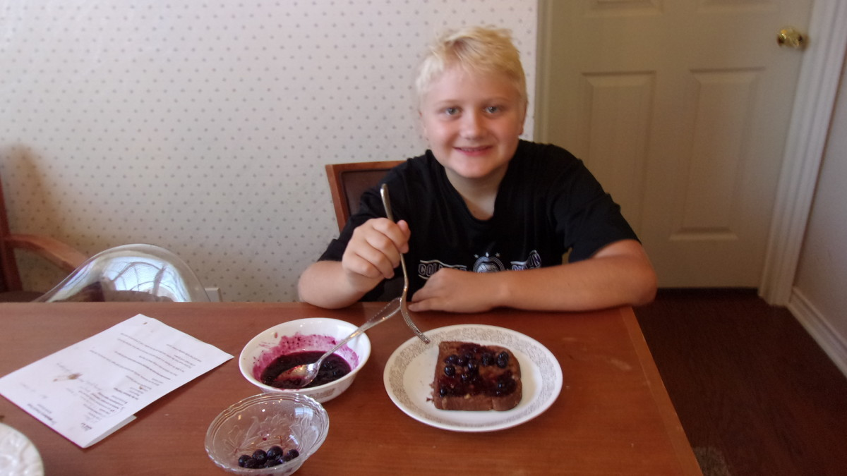 My son enjoying his french toast.