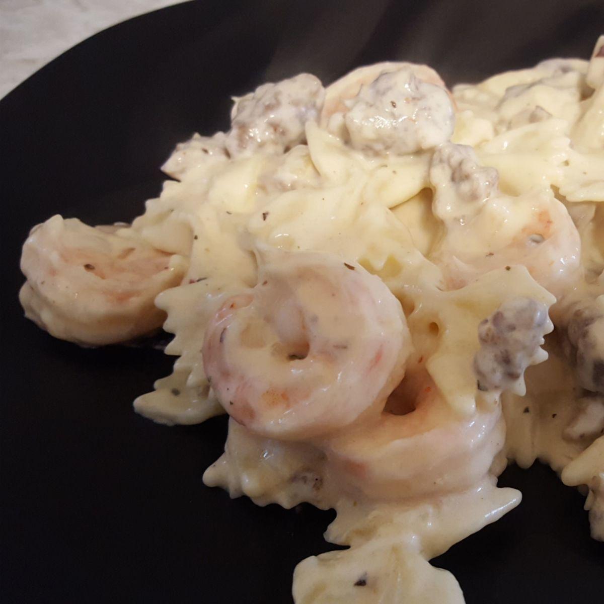Spicy Venison and Shrimp Pasta in Cream Sauce