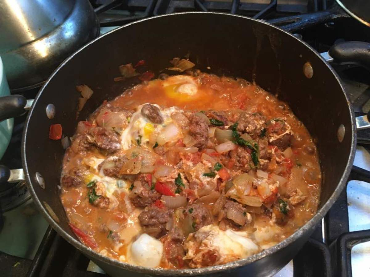 With the eggs added in, a hearty and tasty dish emerges.