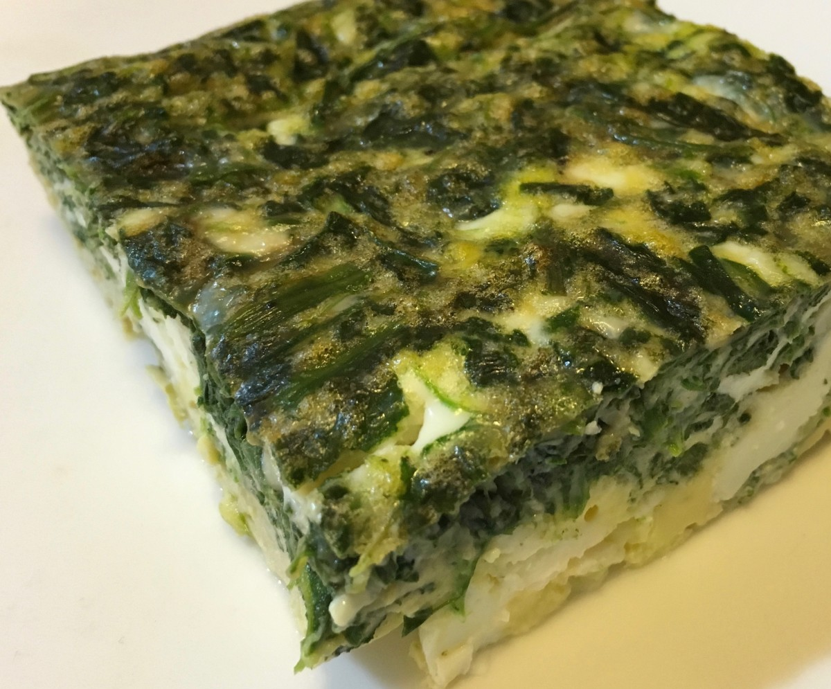 The completed spinach and feta frittata.