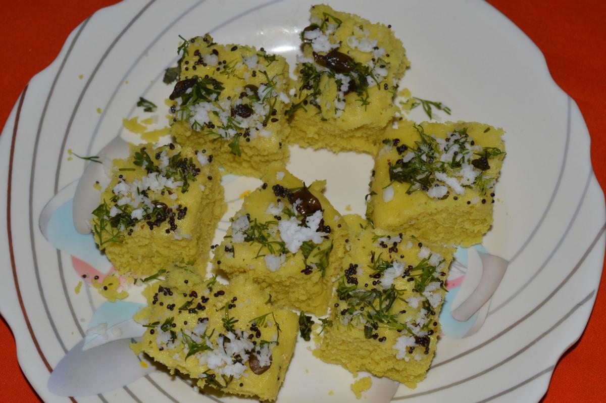 Split mung beans(moong dal) dhokla
