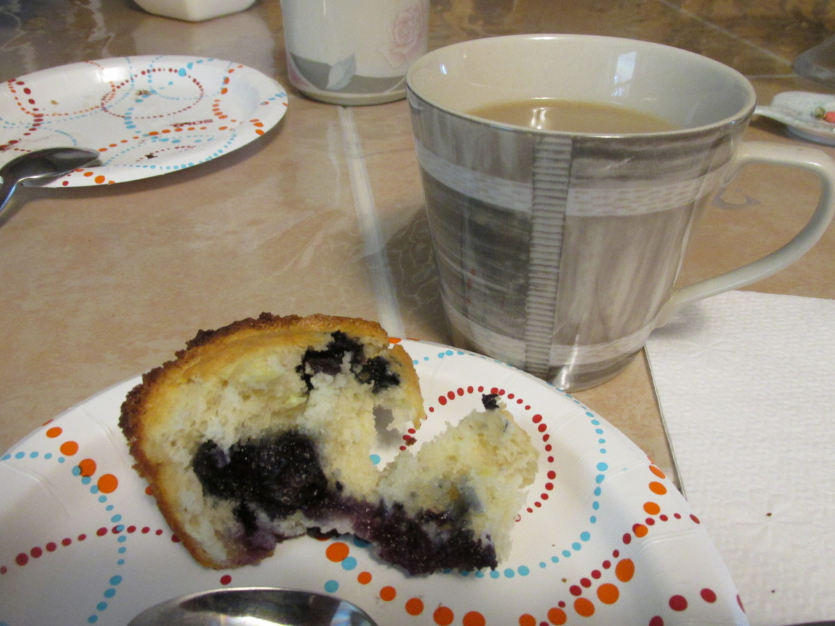 Enjoying a muffin with coffee in the afternoon.