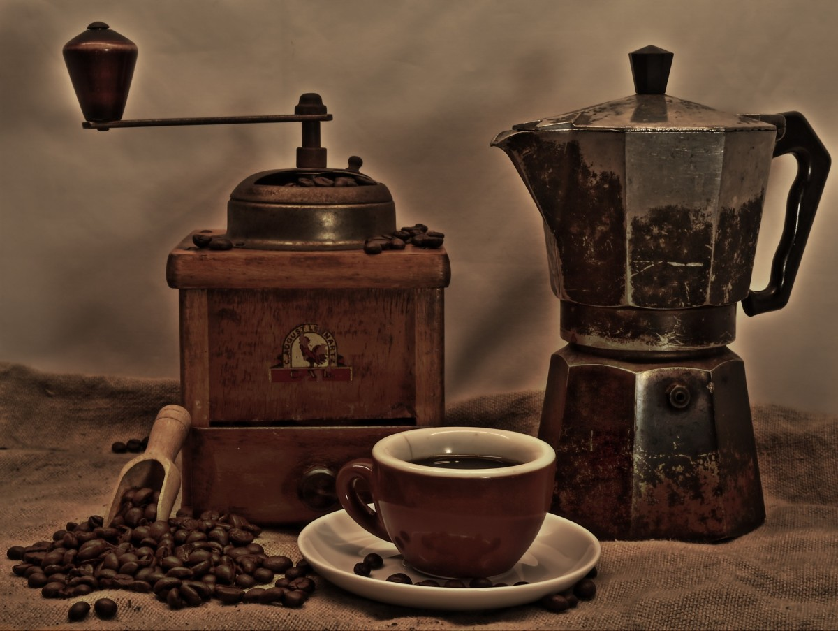 vintage photo of coffee and coffee maker
