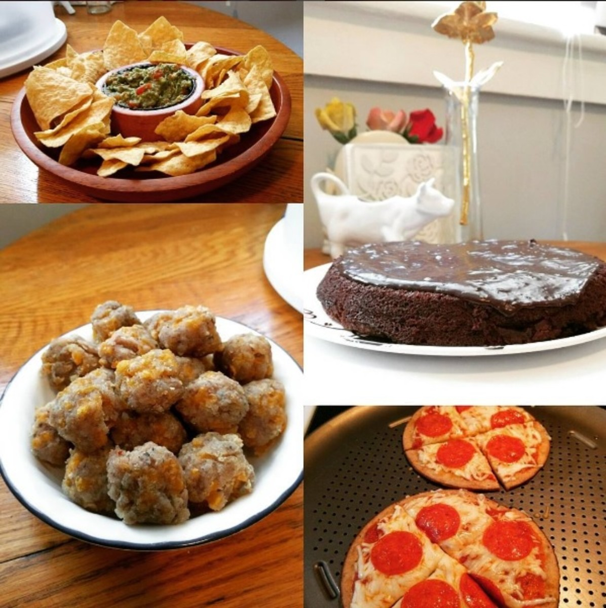 Sausage balls (lower left) and some other gluten-free party snack ideas.