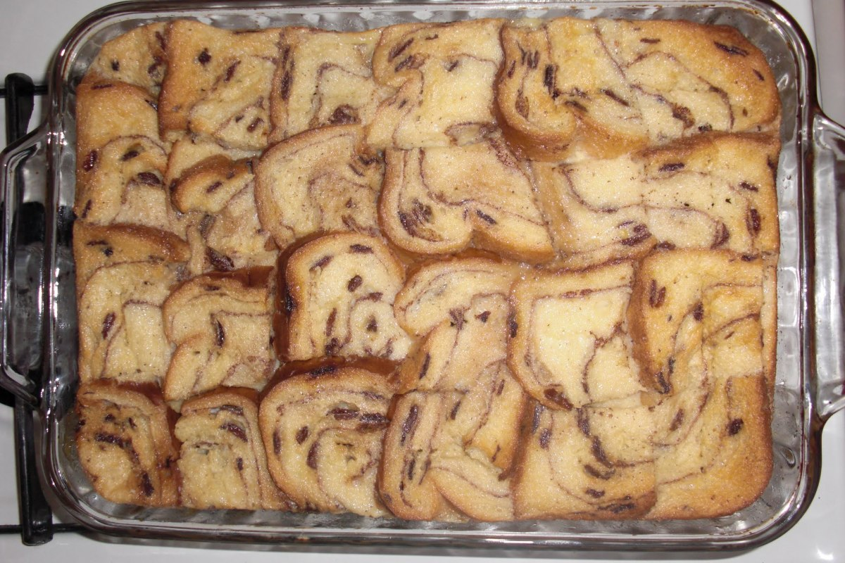 My cinnamon swirl raisin bread pudding
