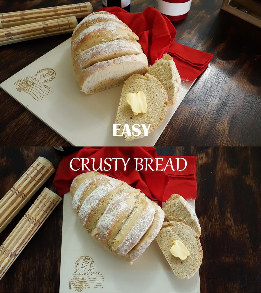 Easy 4-Ingredient Crusty Bread Recipe