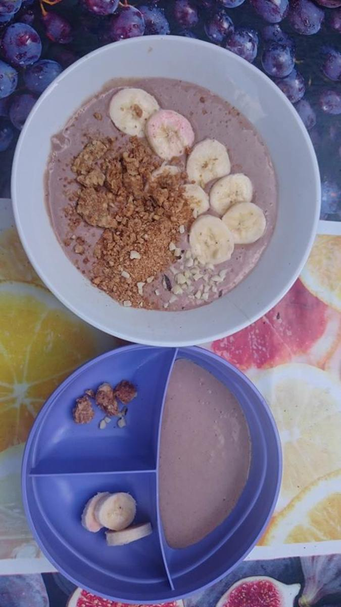 Peanut butter, banana and chocolate smoothie bowl (mine on top, my son's on the bottom).