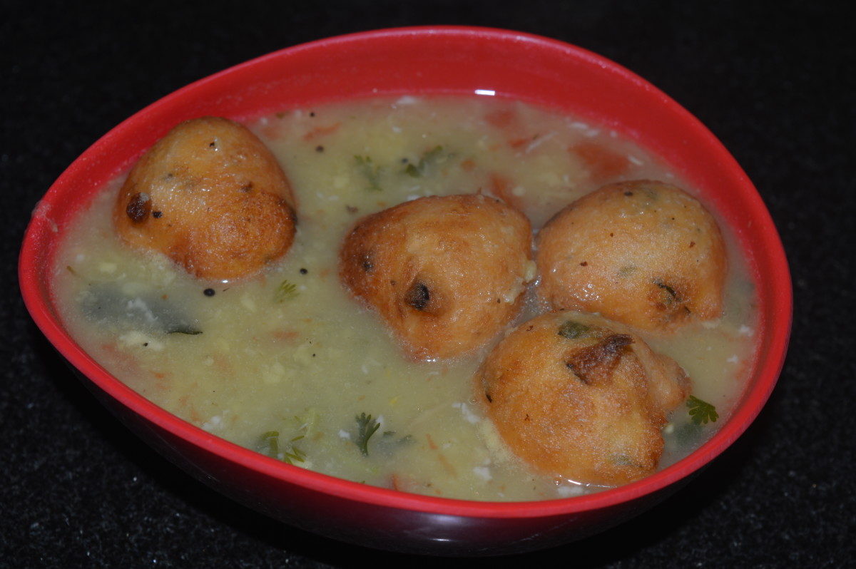 Bonda Soup or Lentil Balls in Spicy Hot Soup