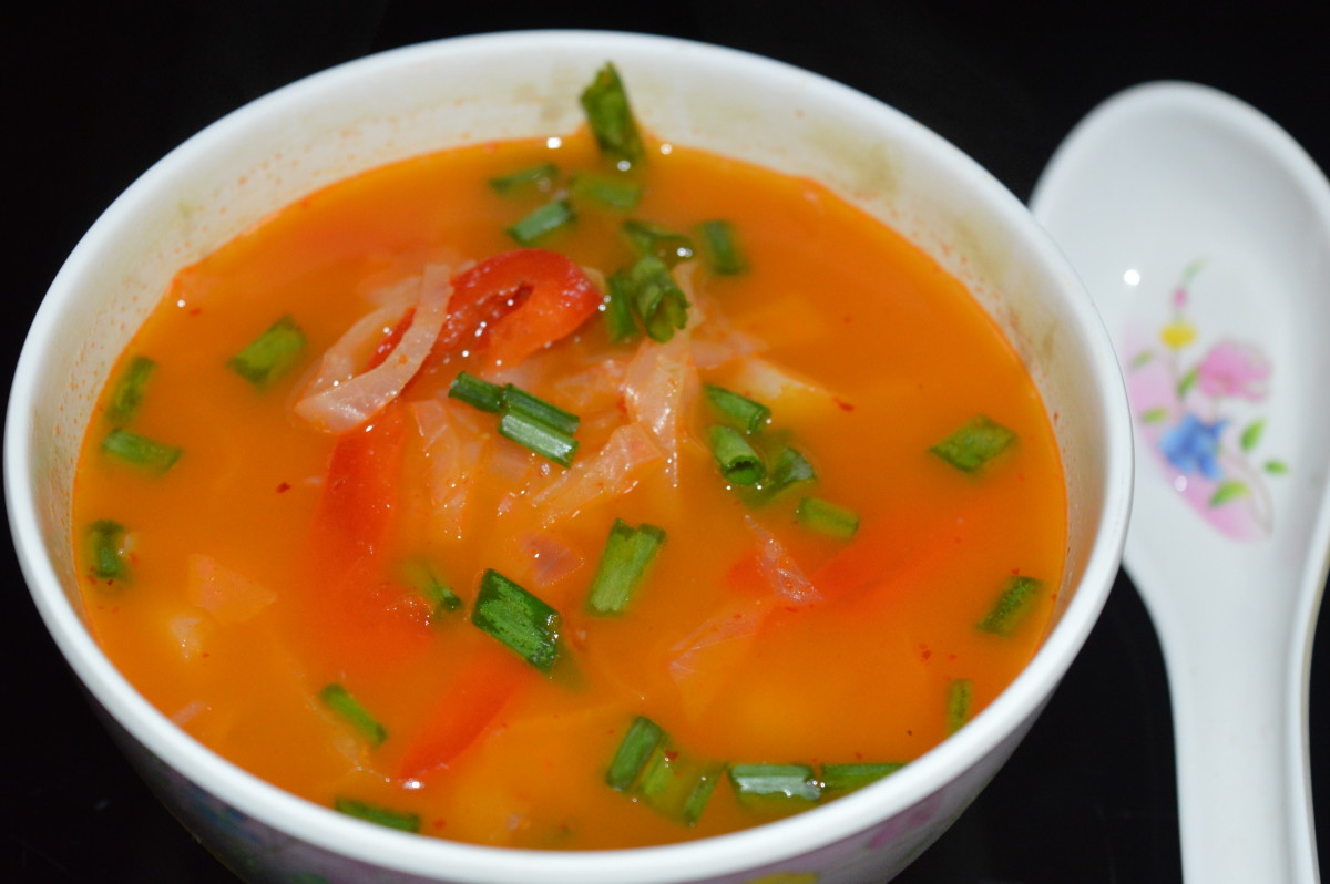 Stir-Fry Vegetable Garlic Soup