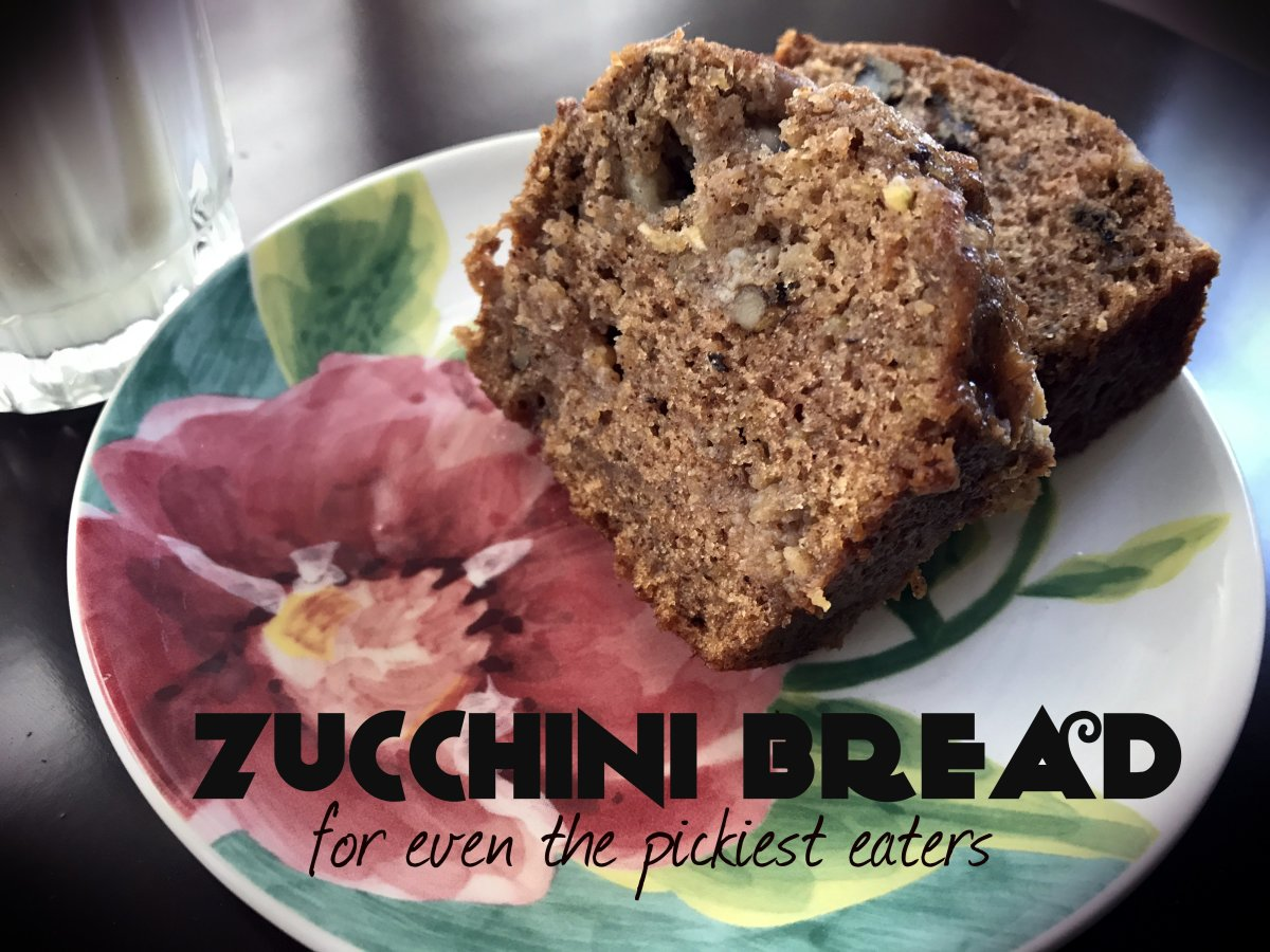 Even the pickiest eaters will enjoy this zucchini bread.  With an apple, bananas, and zucchinis packed in there, it's healthy as well as delicious.  (You're welcome.)