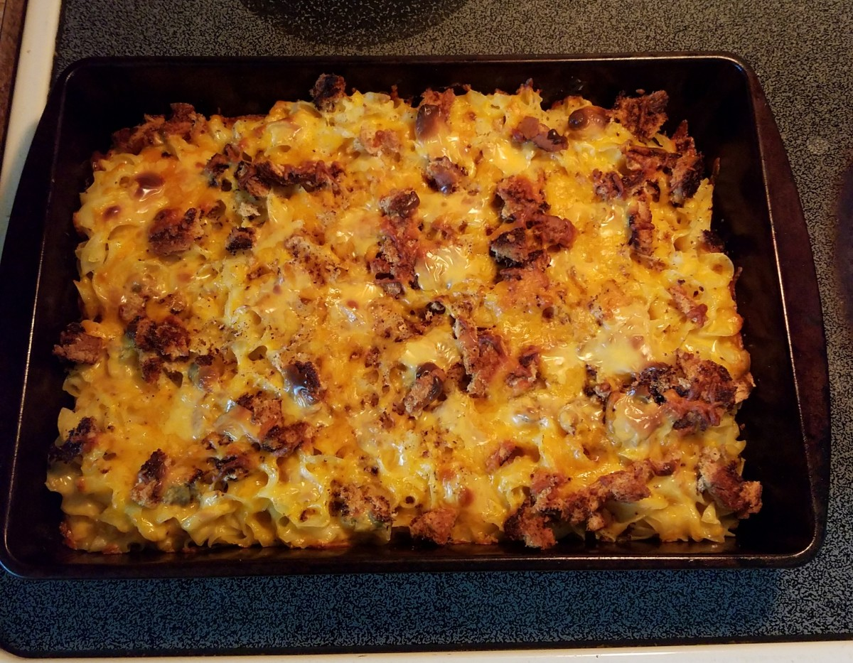 Grandma's Homemade Macaroni and Cheese, hot out of the oven and ready to eat!